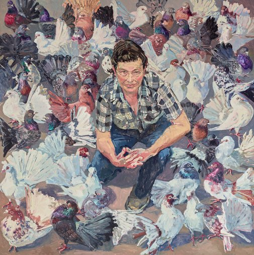 'Lucy and fans' - oil on canvas, 170.5 x 170cm