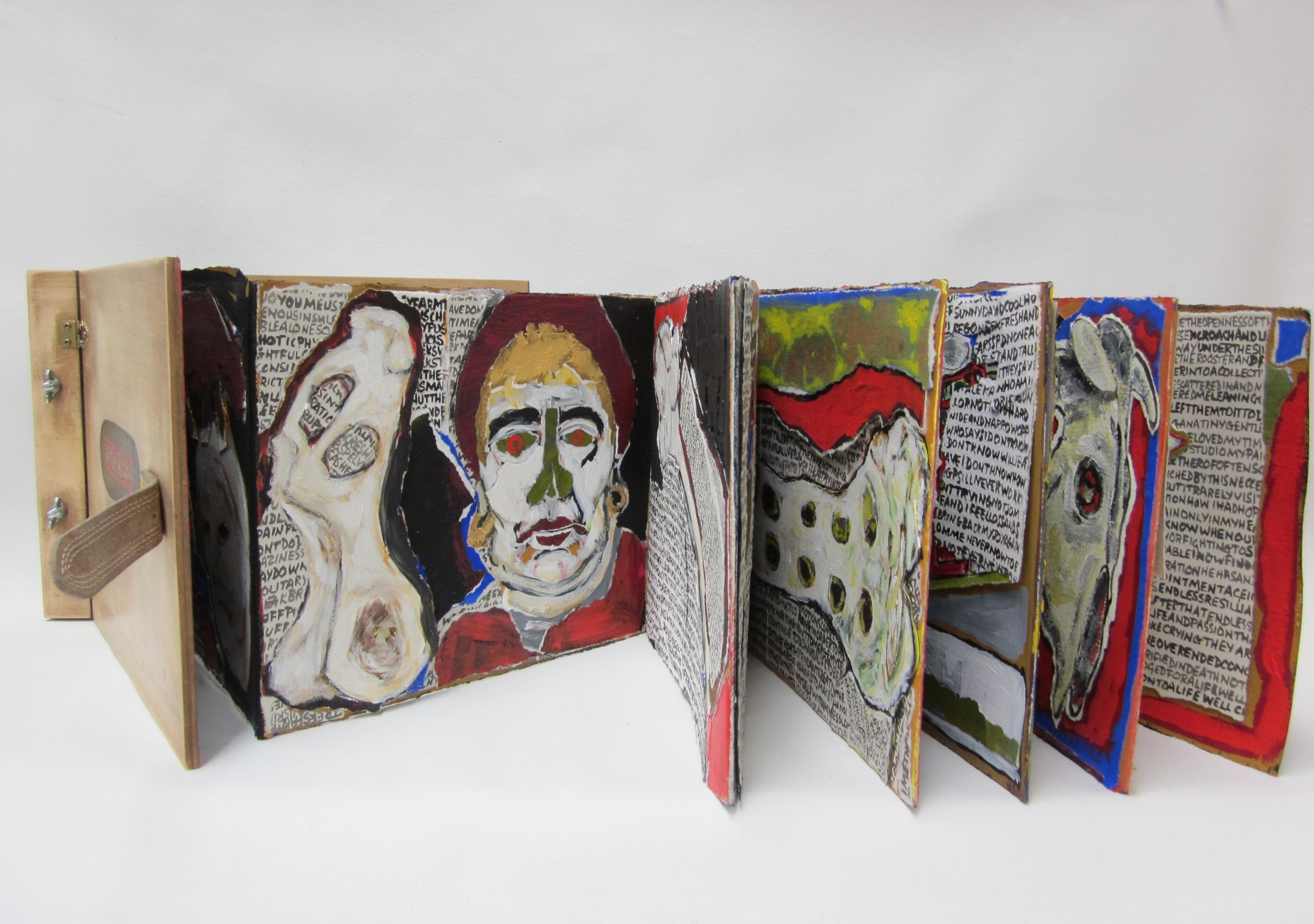 Archer_Suzanne_Vivarium_Artists Book_2013_Timber,leather,metal fittings,paper,acrylic paint_closed 22cm x 31cm_open 22cm x 311cm (2)