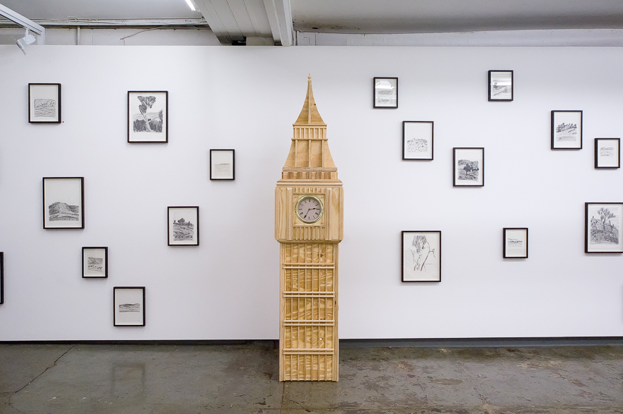 'This is Our Land Now #1', 2010-11, plywood and clocks, 263cm x 55cm x 55cm