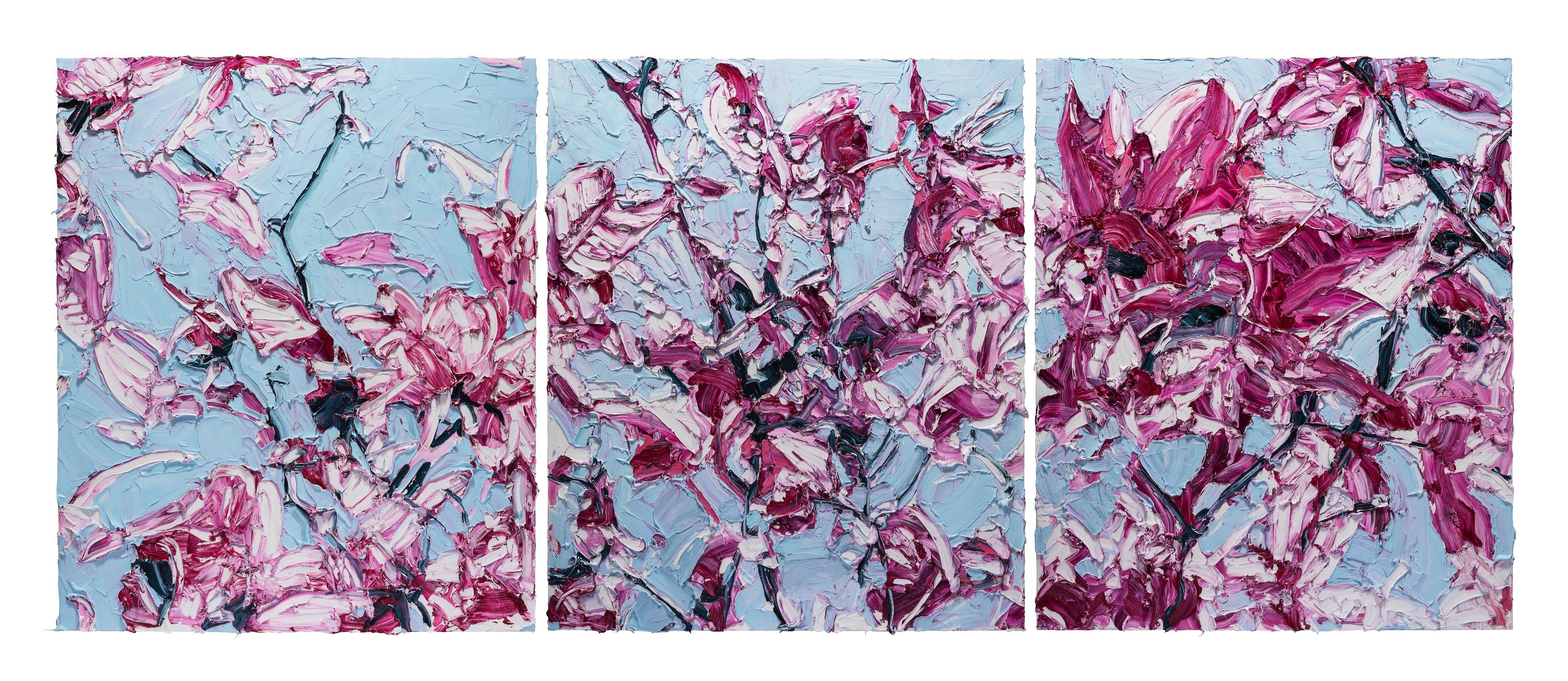 Linen Magnolia 4.5x1.8cm Triptych Oil on Linen Mounted onto DiaBond