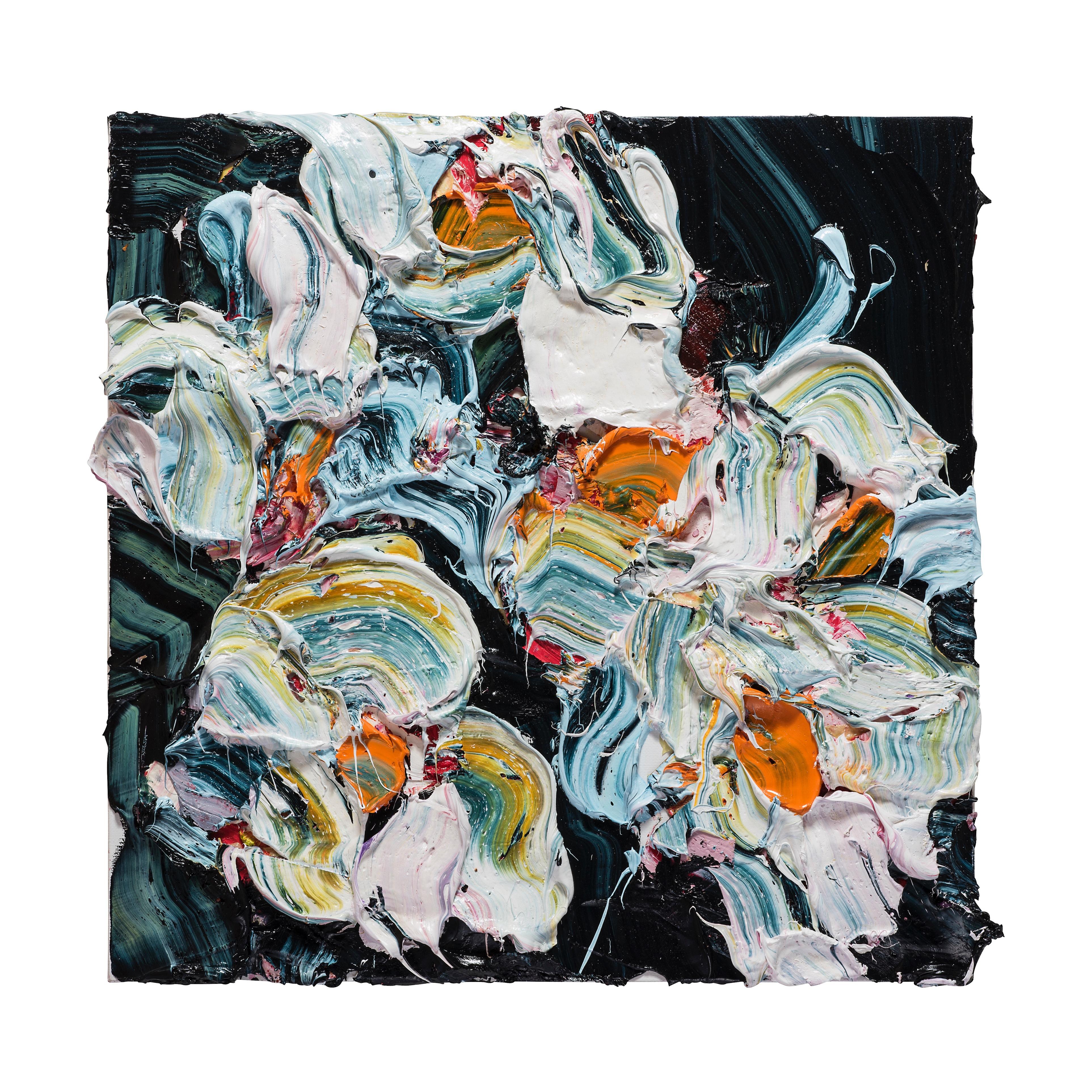 Midnight Ash Rose #2 - 65x65cm Oil on Linen Over DiaBond